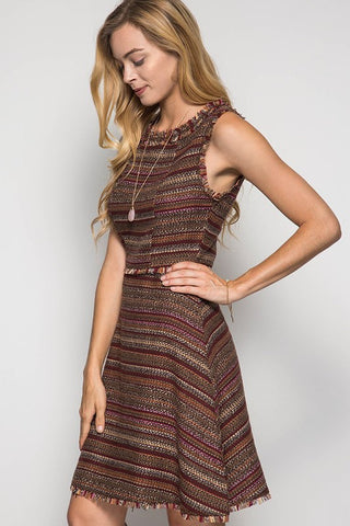 Fall Tweed Dress - Brown - Blue Chic Boutique  - 1