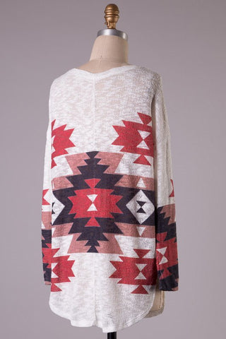 Aztec Tunic Sweater - Burgundy - Blue Chic Boutique  - 2