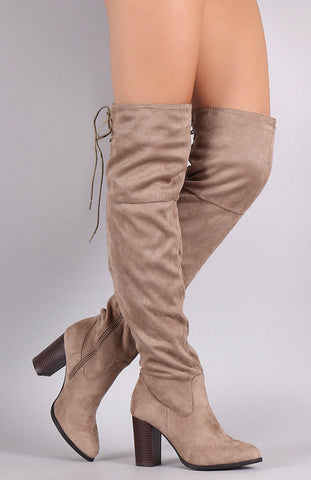 Over the Knee Lace Up Boots with Heel - Taupe - Blue Chic Boutique  - 1
