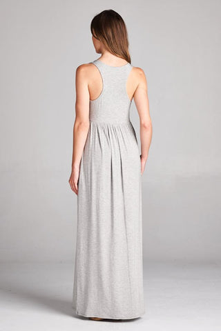 Racerback Maxi Dress  - Gray - Blue Chic Boutique  - 2