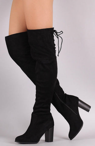 Over the Knee Lace Up Boots with Heel - Black - Blue Chic Boutique  - 1