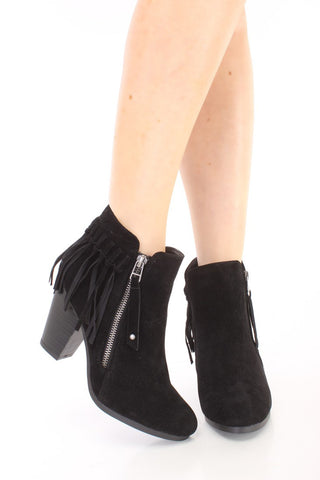 Fringe Booties - Black - Blue Chic Boutique  - 1