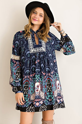 Paisley Dreams Dress - Navy - Blue Chic Boutique  - 1