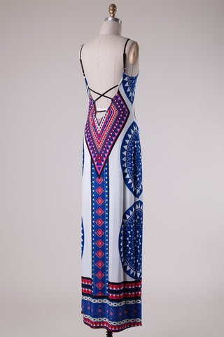 Summer Maxi Dress  - White and Royal - Blue Chic Boutique  - 3