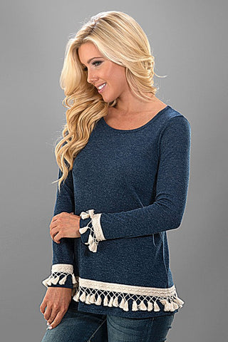 Tassel Knit Top - Navy - Blue Chic Boutique  - 2