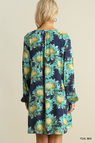 Sunflowers Dress - Teal - Blue Chic Boutique  - 5