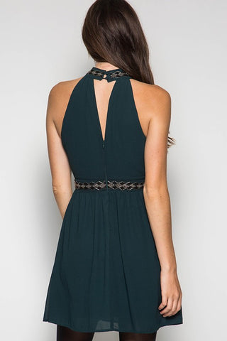 Fall Elegance Halter Dress - Sea Green - Blue Chic Boutique  - 4