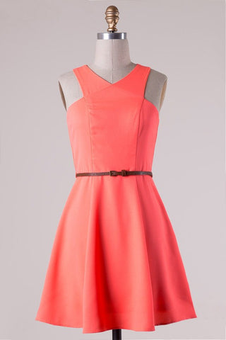 Coral Belted Dress - Blue Chic Boutique  - 1