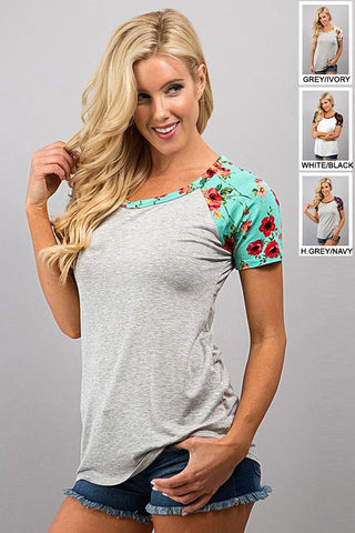 Floral Sleeve Top - Gray and Mint - Blue Chic Boutique  - 2