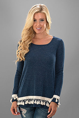 Tassel Knit Top - Navy - Blue Chic Boutique  - 1
