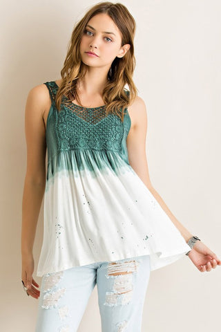 Dip Dyed Tank Top - Ivory and Green - Blue Chic Boutique  - 1