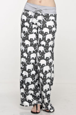 Casual Elephant Print Pants - Charcoal - Blue Chic Boutique  - 2