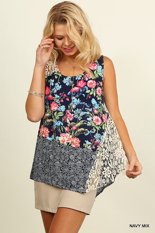 Floral Garden Tank Top - Navy Mix - Blue Chic Boutique  - 2