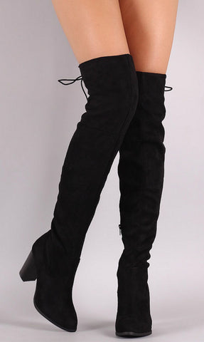 Over the Knee Lace Up Boots with Heel - Black - Blue Chic Boutique  - 3
