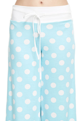 Casual Polka Dot Pants - Aqua - Blue Chic Boutique  - 2