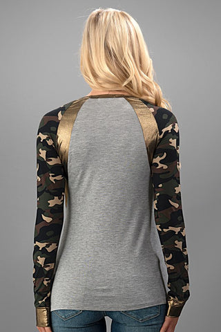 Camo Flair Top - Gray - Blue Chic Boutique  - 4
