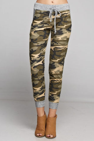 Camo Jogger with Solid Trim - Khaki and Olive - Blue Chic Boutique  - 2