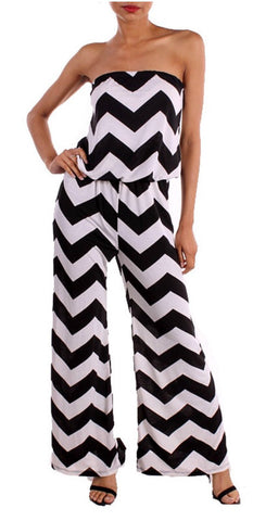 Chevron Jumpsuit - Black and White - Blue Chic Boutique