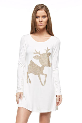 Glitter Rudolf the Reindeer Tunic Top - White - Kids sizes to 3XL - Blue Chic Boutique  - 2