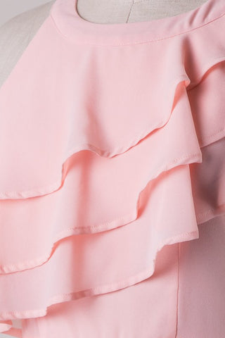 Ruffle Dress - Blush - Blue Chic Boutique  - 4
