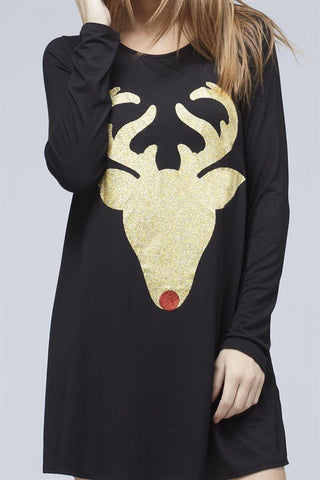 Glitter Reindeer Tunic - Black - Blue Chic Boutique  - 9