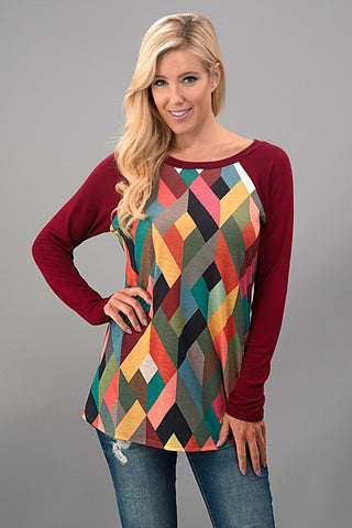 Geometric Fall Top - Mustard - Blue Chic Boutique  - 2