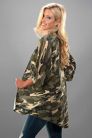 Camo Half Sleeve Cardigan - Olive and Khaki - Blue Chic Boutique  - 3
