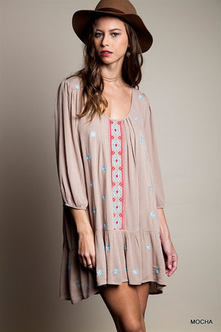 Summer Concert Boho Dress - Taupe - Blue Chic Boutique  - 1