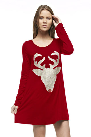 Glitter Reindeer Tunic - Red - Blue Chic Boutique  - 7
