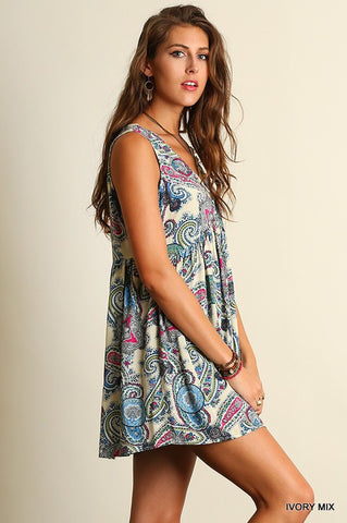 Gypsy Spirit Paisley Dress - Ivory Mix - Blue Chic Boutique  - 2