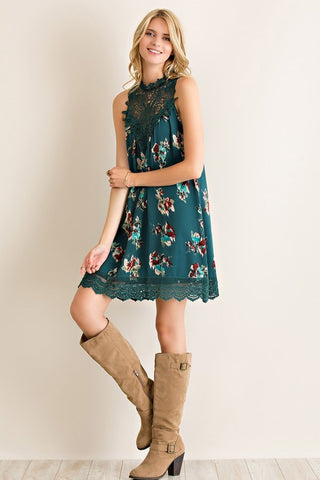 Martinis and Moonlight Lace Sleeveless Dress - Floral Hunter Green - Blue Chic Boutique  - 2