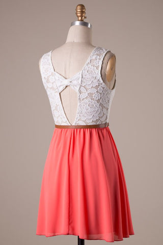 Coral and White Dress with Bow Belt - Blue Chic Boutique  - 3