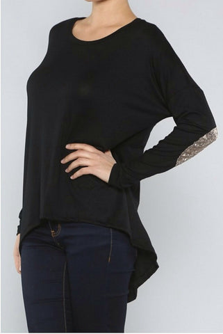 Top with Sequin Patches on Elbows - Black - Blue Chic Boutique  - 1