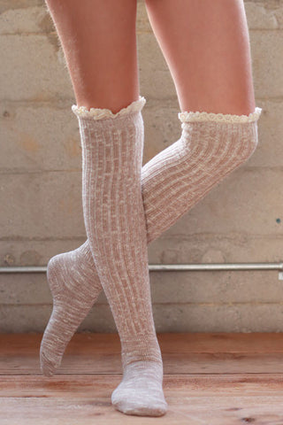 Boot Socks - Beige - Blue Chic Boutique  - 2