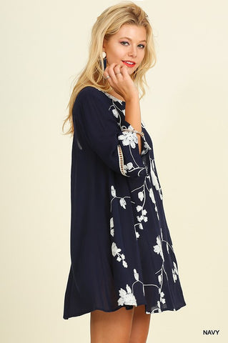Embroidered Floral Dress - Navy - Blue Chic Boutique  - 1