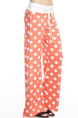 Casual Polka Dot Pants - Coral - Blue Chic Boutique  - 1