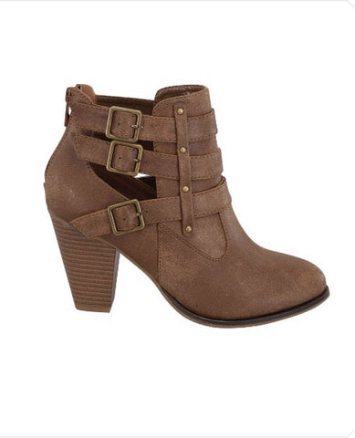 Buckle Ankle Boots - Tan - Blue Chic Boutique  - 2