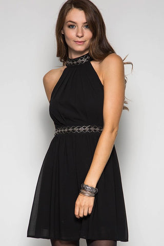 Fall Elegance Halter Dress - Black - Blue Chic Boutique  - 1