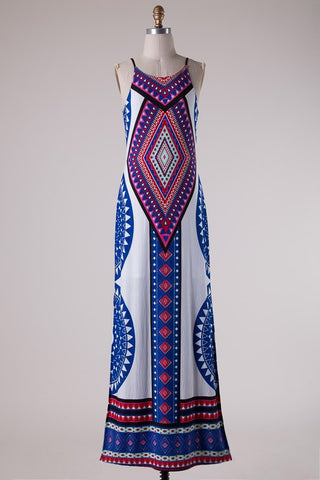 Summer Maxi Dress  - White and Royal - Blue Chic Boutique  - 2