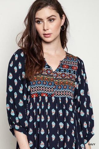 Boho Baby Doll Tunic - Navy - Blue Chic Boutique  - 6