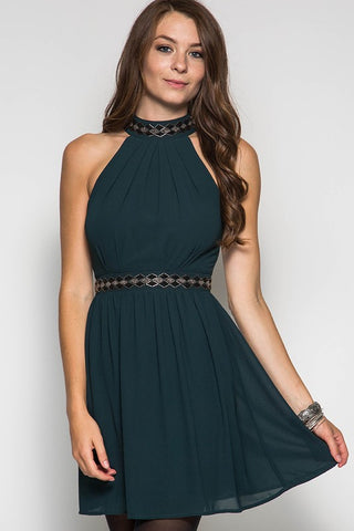 Fall Elegance Halter Dress - Sea Green - Blue Chic Boutique  - 3