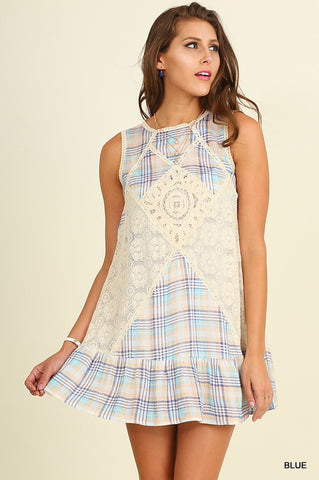 Pretty in Plaid Dress - Blue - Blue Chic Boutique  - 1