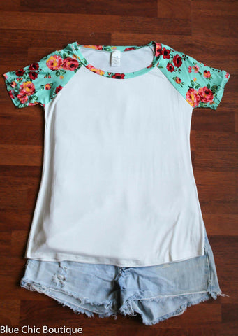 Floral Sleeve Top - Ivory and Mint - Blue Chic Boutique  - 1