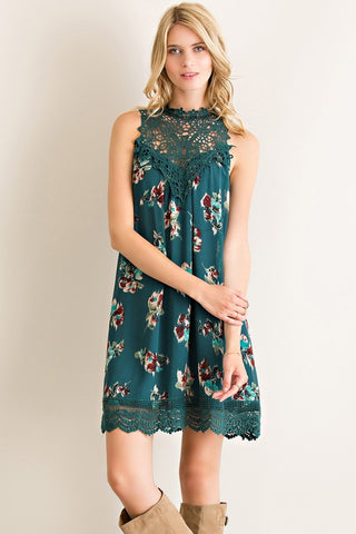 Martinis and Moonlight Lace Sleeveless Dress - Floral Hunter Green - Blue Chic Boutique  - 1