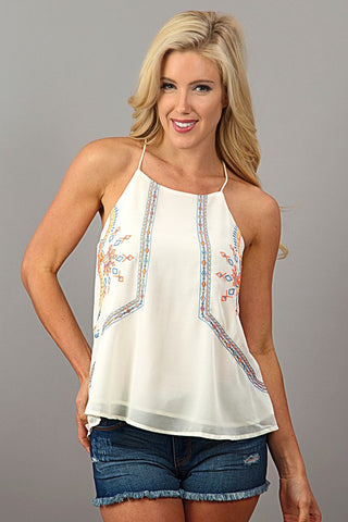 Embroidered Halter Top - White - Blue Chic Boutique  - 1