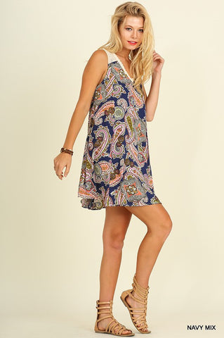 The Livin' is Easy Paisley Dress - Navy Mix - Blue Chic Boutique  - 2