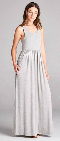 Racerback Maxi Dress  - Gray - Blue Chic Boutique  - 1