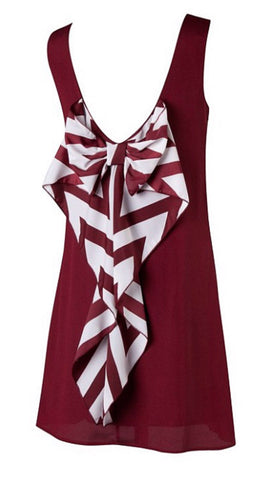 Chevron Sleeveless Bow Back Dress - Burgundy - Blue Chic Boutique  - 2