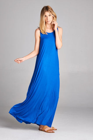 Flowy Tank Style Maxi Dress - Royal - Blue Chic Boutique  - 1