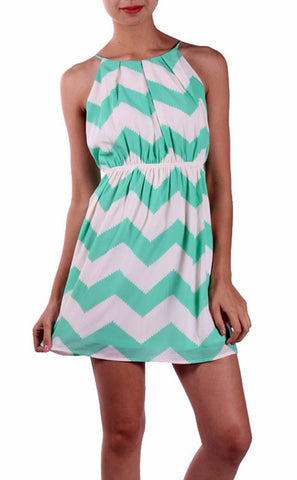 Mint and White Chevron Sleeveless Dress - Blue Chic Boutique  - 11
